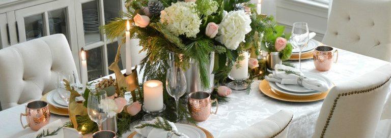Декор новогоднего стола - фото в классическом стиле прованс