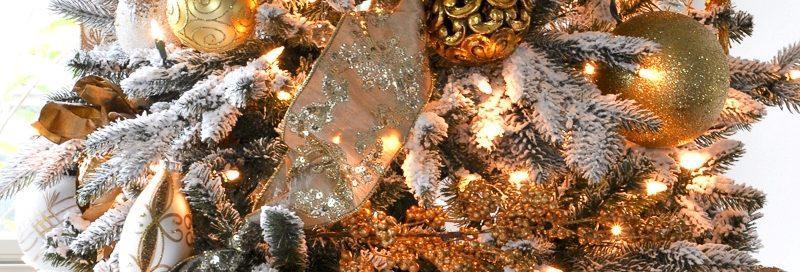 Новогодняя елка в золотом стиле Прованс