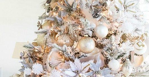 Серебристо-золотая новогодняя елка - фото 2019 года